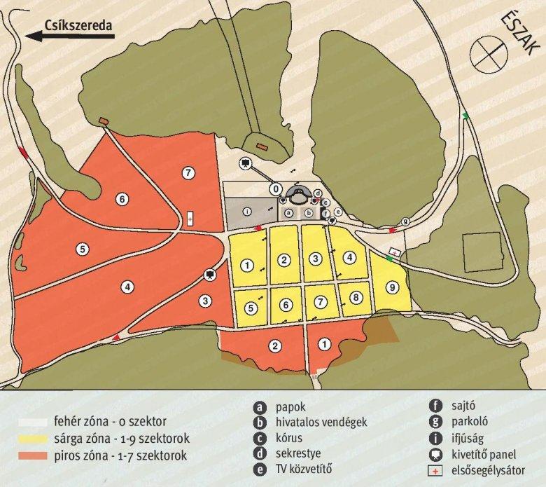 Kialakították a szektorokat a pápai szentmisére a csíksomlyói nyeregben