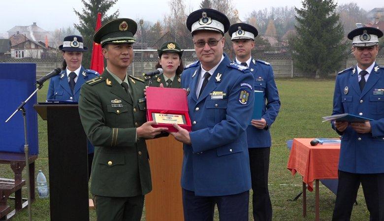 Kínai harcművészeti bemutatót tartottak a román csendőrök