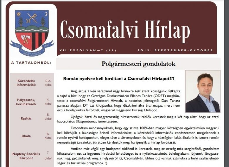 Kétezer lejes bírságot kapott Gyergyócsomafalva, mert a helyi újságot csak magyar nyelven adják ki