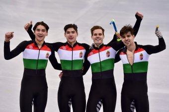 Óriási bravúr: aranyérmet szerzett a magyar gyorskorcsolyaváltó a téli olimpián