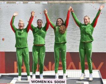 Kajak-kenu-vb: magabiztos versenyzéssel aranyéremes a női kajaknégyes 500 méteren, a férfiak ötödikként zártak