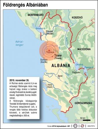 Többen meghaltak, drámai a helyzet a földrengés sújtotta Albániában