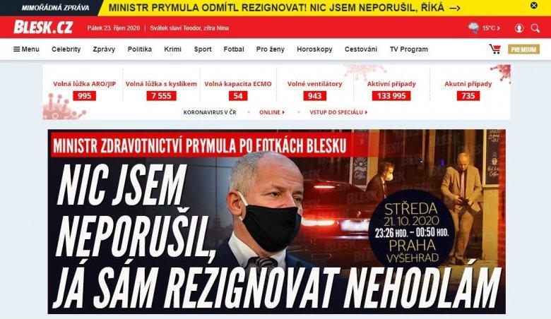 """Maszk nélkül látták egy """"bezárt"""" étteremben, távoznia kell a cseh egészségügyi miniszternek"""
