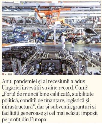 Ziarul Financiar: Budapest vörös szőnyeggel várja a befektetőket, Bukarest számára nem prioritás