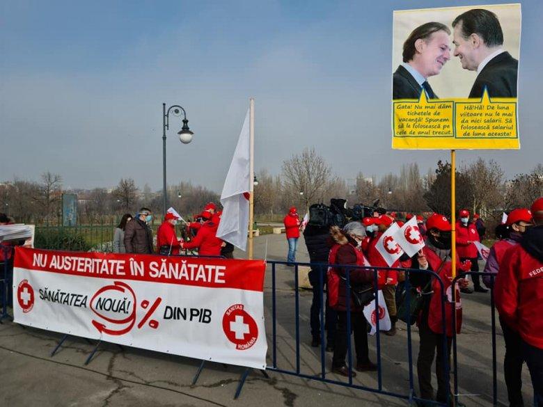"""Bukarestben tart tiltakozó akciót a Sanitas, """"minőségi, európai színvonalú"""" egészségügy biztosítását kérik"""