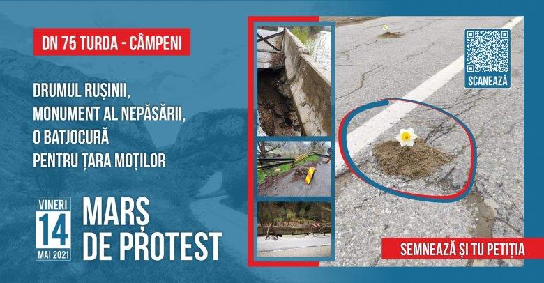 Több tucat sofőr tüntetett a Tordát Topánfalvával összekötő út siralmas állapota miatt – VIDEÓ