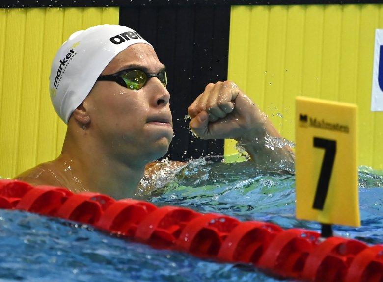 Szabó Szebasztián aranyérmes 50 méter pillangón a vizes Eb-n
