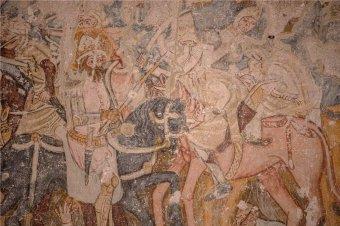 Különleges, Szent László-legendát ábrázoló freskót restauráltak a Szeben megyei Somogyomon