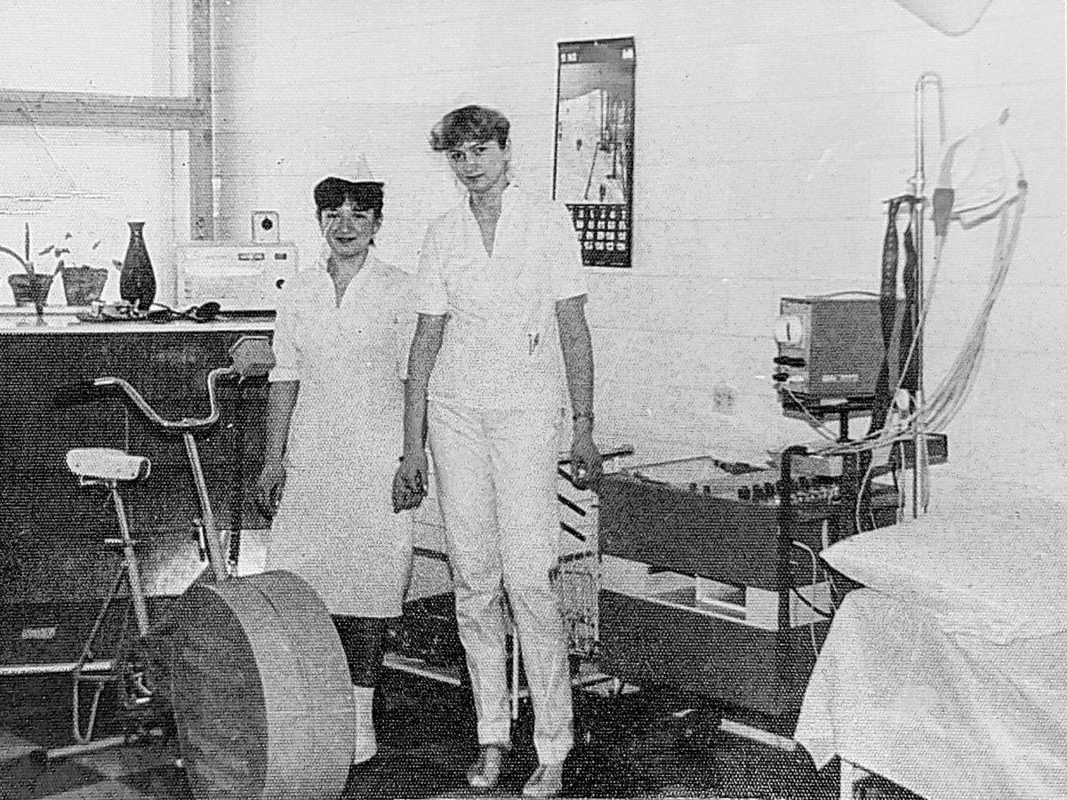 EKG-labor a kardiológián 1985-ben •  Fotó: Forrás: Amza Éva személyes archívuma