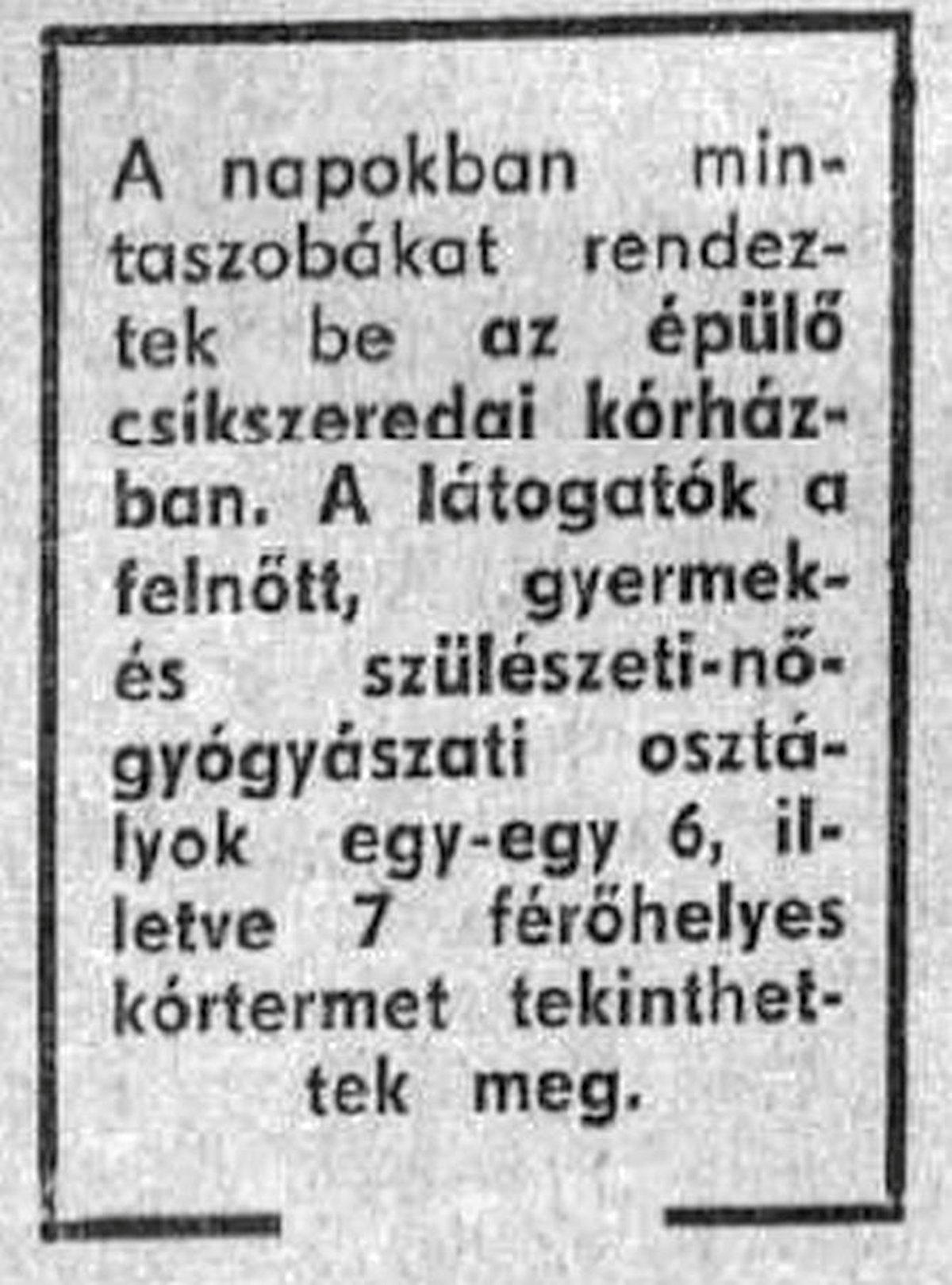 Hargita, 1970. december 27. •  Fotó: Forrás: a Csíkszeredai Megyei Sürgősségi Kórház gyűjtése