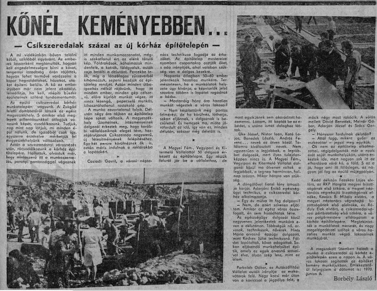Hargita, 1970. május 10. •  Fotó: Forrás: a Csíkszeredai Megyei Sürgősségi Kórház gyűjtése
