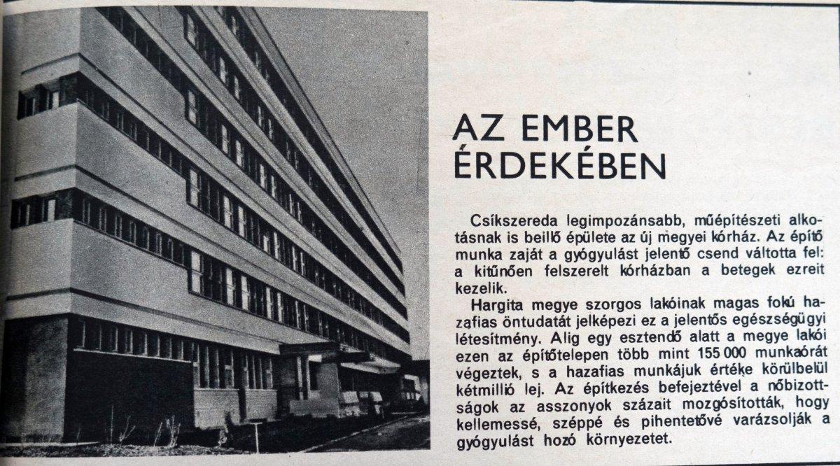 Dolgozó Nő, 1971. augusztus 1. •  Fotó: Forrás: a Csíkszeredai Megyei Sürgősségi Kórház gyűjtése