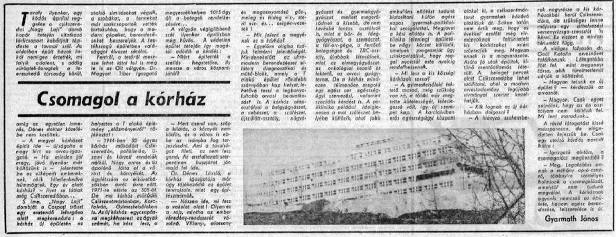 Előre, 1971. április 17. •  Fotó: Forrás: a Csíkszeredai Megyei Sürgősségi Kórház gyűjtése