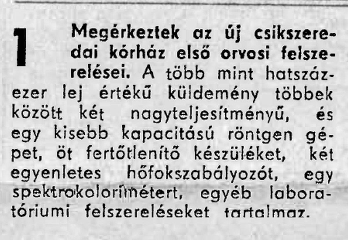 Hargita, 1970. október 8. •  Fotó: Forrás: a Csíkszeredai Megyei Sürgősségi Kórház gyűjtése