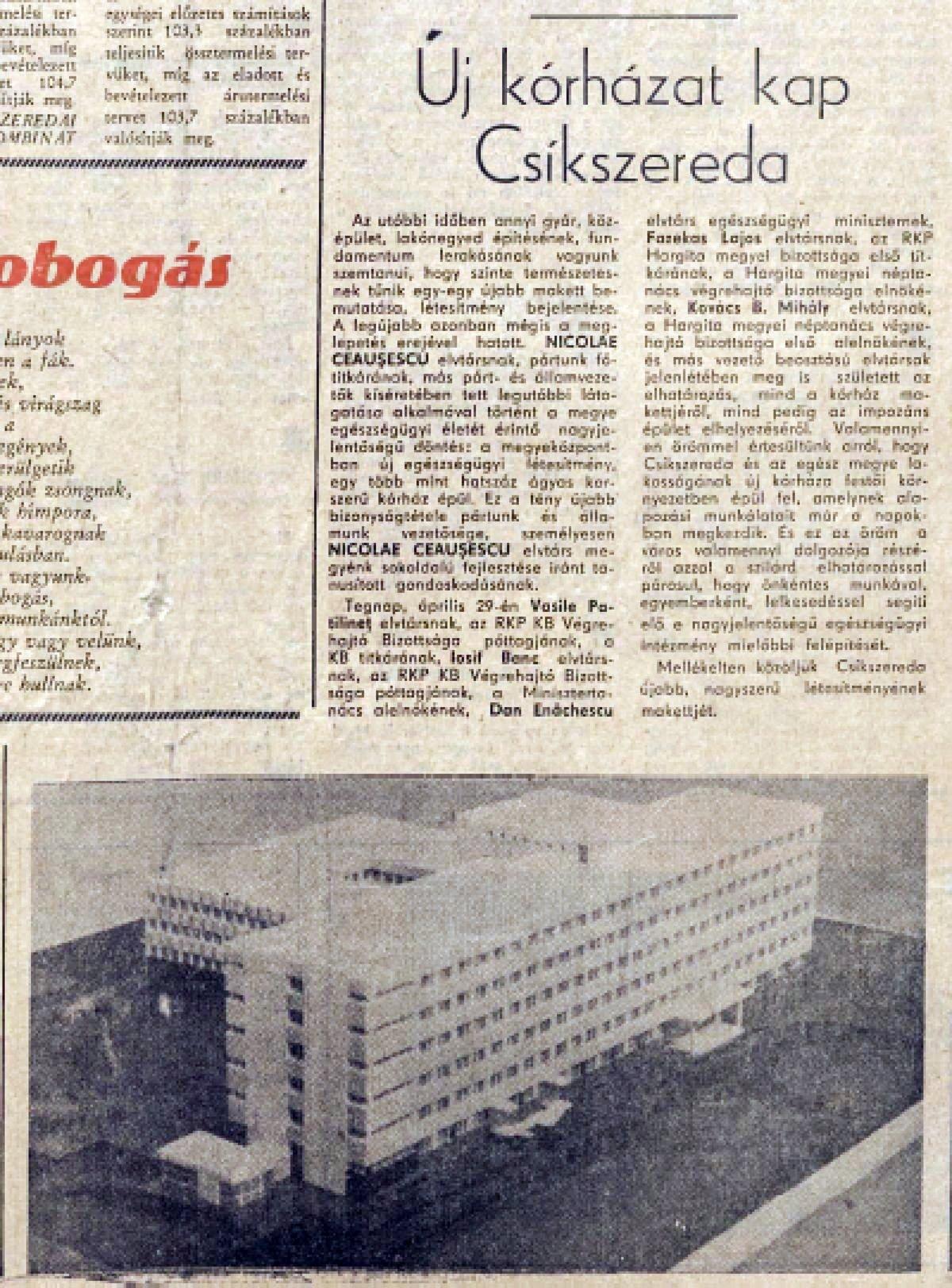 Hargita, 1970. április 30. •  Fotó: Forrás: a Csíkszeredai Megyei Sürgősségi Kórház gyűjtése