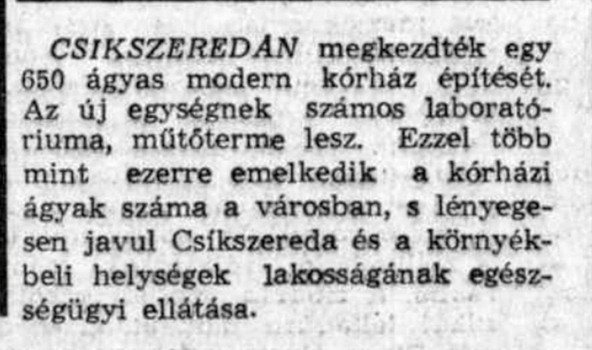 Előre, 1970. május 12. •  Fotó: Forrás: a Csíkszeredai Megyei Sürgősségi Kórház gyűjtése