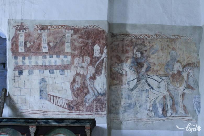 Lányokat, hitet mentő lovagiasság: a bögözi templom freskói