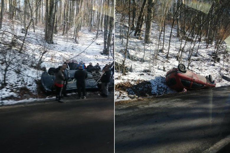Egymást követően két autó borult fel a szerpentinen