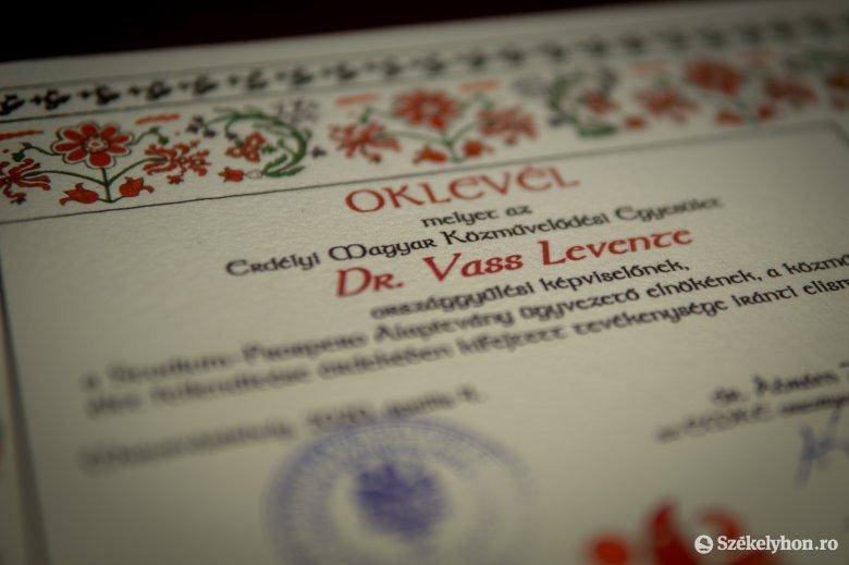Idén vehette át tavalyi EMKE-díját Vass Levente